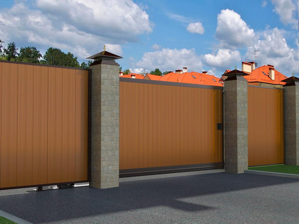 забор с откатными воротами